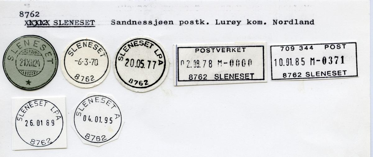Stempelkatalog  8762 Sleneset, Lurøy kommune, Nordland