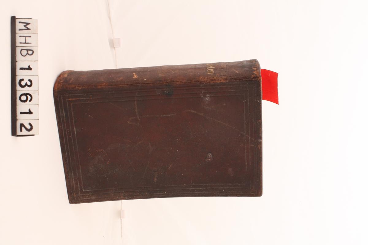 Lærinnbundet bibel av rektangulær form. Gotisk skrift. Påskrift i gull på ryggen. Fremsiden og baksiden av lærinnbindingen er dekorert med innpressende streker som danner tre rektangler utenpå hverandre. De lager en slags ramme om forsiden og baksiden. Ryggen er dekorert med doble, innpressede streker 7 steder. Et rødt sløyfebånd sitter i som bokmerke.