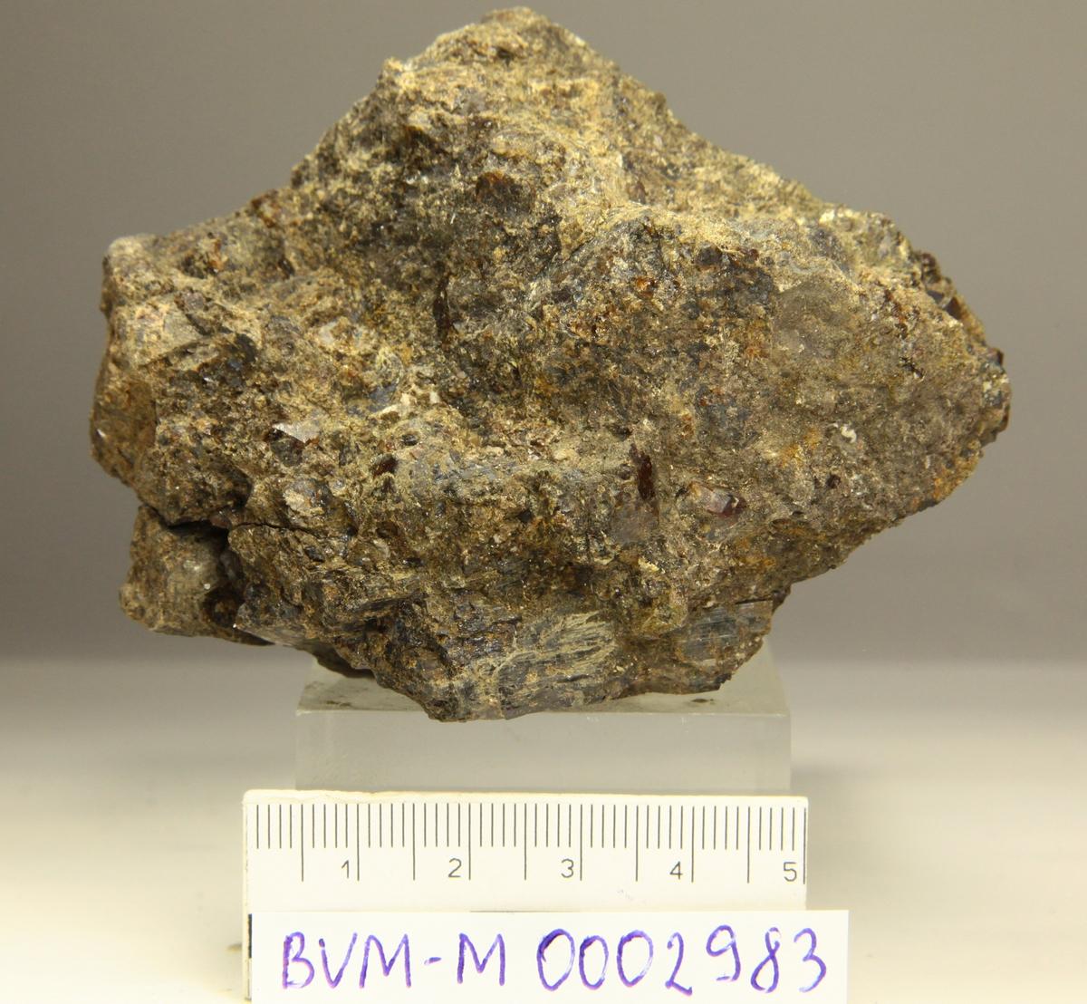 Svartbrune krystaller, uten toppflater. Årvoll (lokalitet for gul mangan-axinitt).