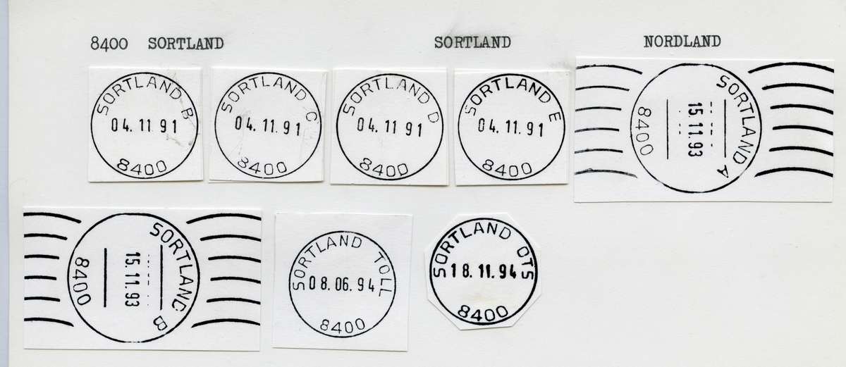 Stempelkatalog 8400 Sortland, Sortland kommune, Nordland