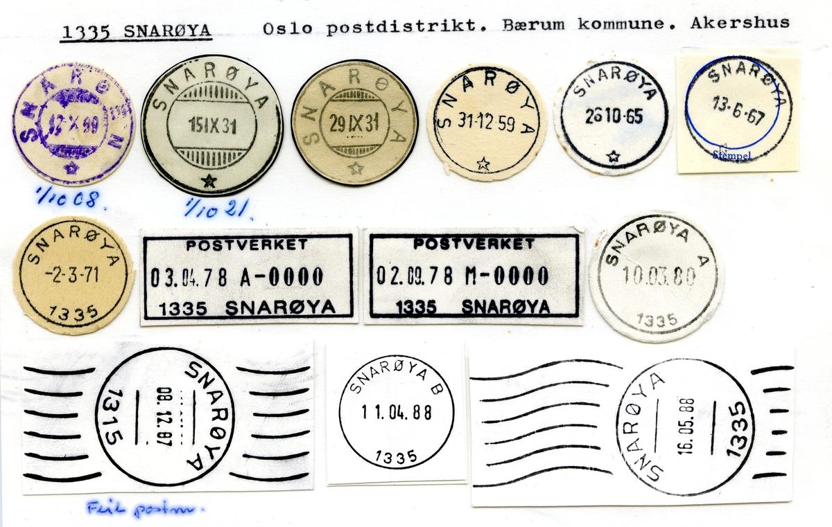 Stempelkatalog  1335 Snarøya, Bærum kommune, Akershus (Snarøen 1.10.08)