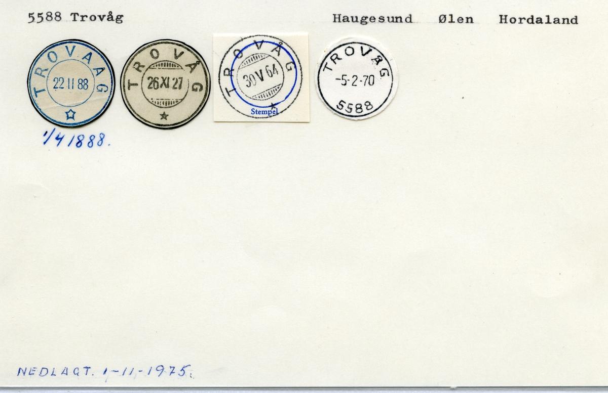 Stempelkatalog 5588 Trovåg (Trovaag), Haugesund, Ølen, Hordaland
