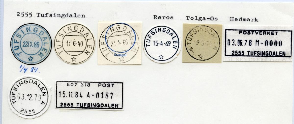 Stempelkatalog 2555 Tufsingdalen, Røros, Tolga, Hedmark