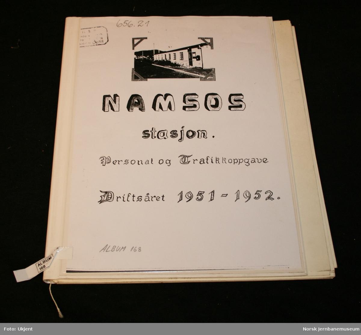 Namsos stasjon : Personal og Trafikkoppgave : Driftsåret 1951-1952