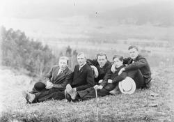 5 unge menn sittende på gressbakke