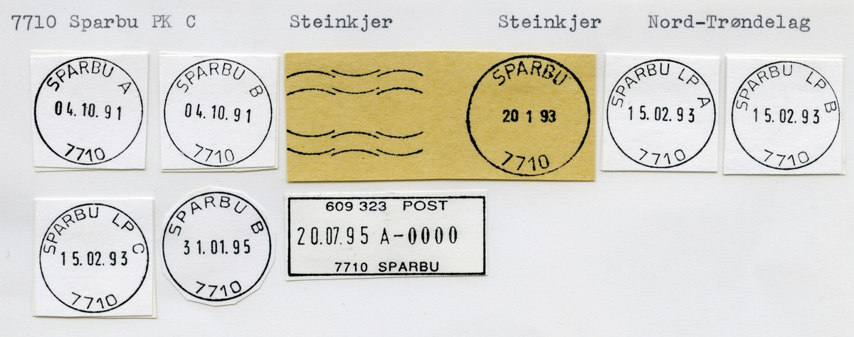 Stempelkatalog  7710 Sparbu, Steinkjer kommune, Nord-Trøndelag