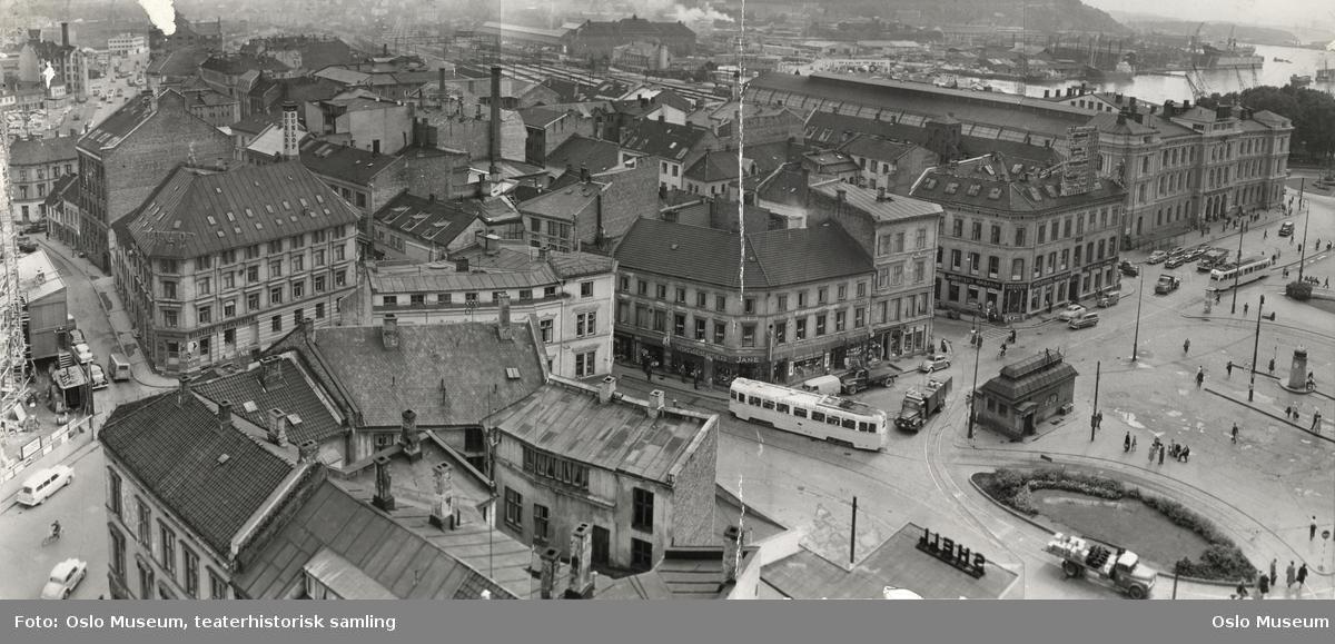 utsikt, bygårder, Østbanestasjonen, biler, trikker, mennesker, gateliv, fjord, havn