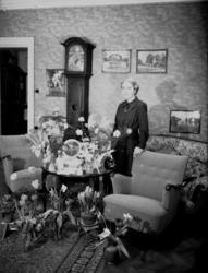 Rumsinteriör, en kvinna.Ester Margareta Lucia Lindskog på 4