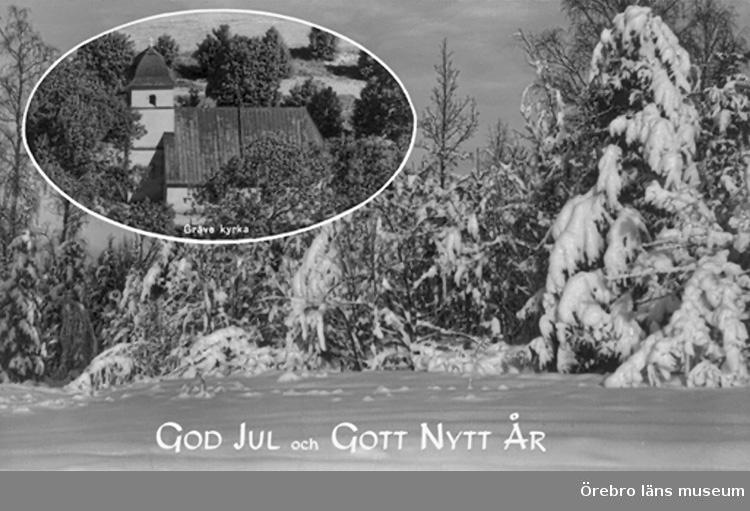 Gräve kyrka, exteriör.Bilden tagen för jul- och nyårskort (text: God Jul och Gott Nytt År).