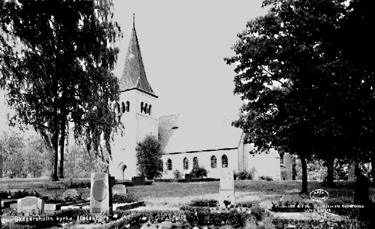 Skagershults kyrka, Hasselfors.Bilden tagen för vykort.