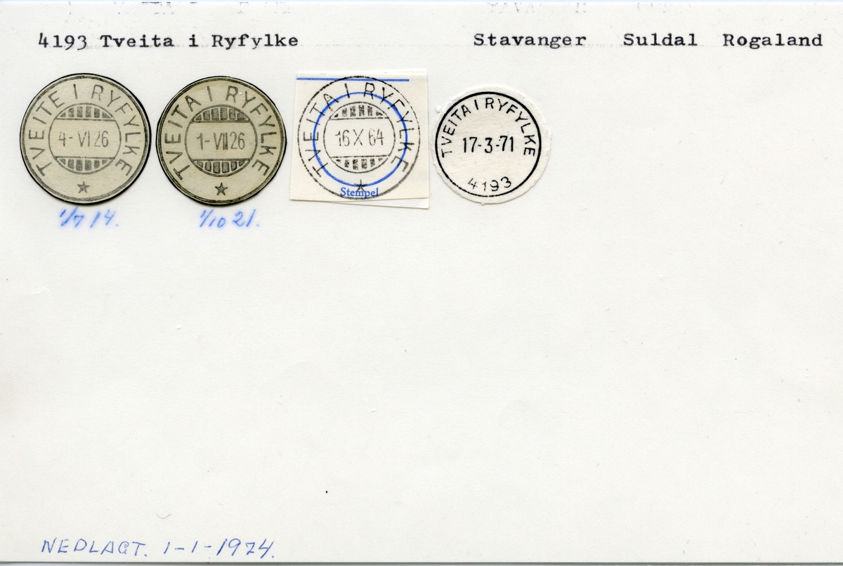 Stempelkatalog 4193 Tveita i Ryfylke, Stavanger, Suldal, Rogaland