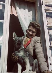 Kvinna i tweedkavaj, sitter i e tt fönster och blickar ned p