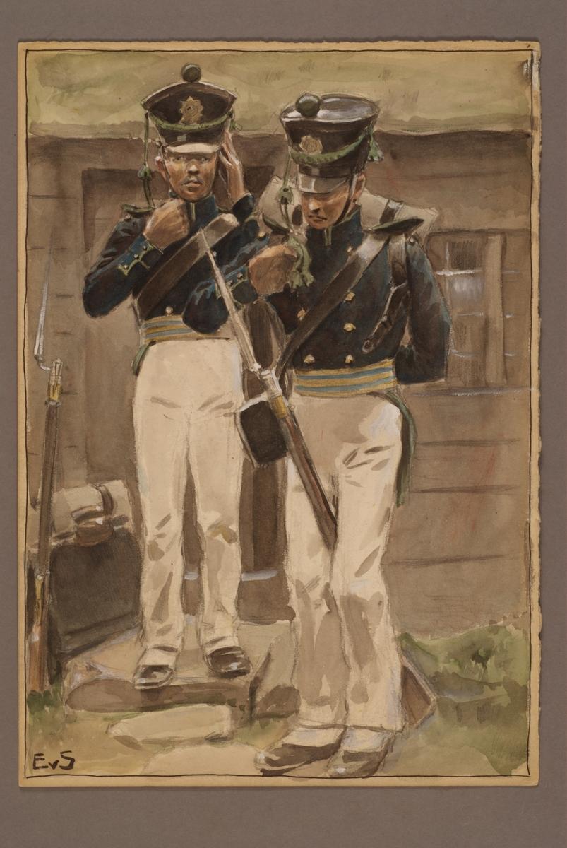 Plansch med uniform för Infanteriets jägare, ritad av Einar von Strokirch.