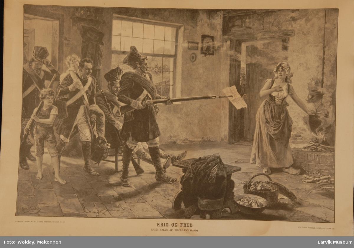 Soldater som kommer hjem fra krig inn i en stue, hvor en dame lager mat på ilden.Den ene mannen holder et gevær med bajonett peker mot damen med et papir stukket på bajonetten.