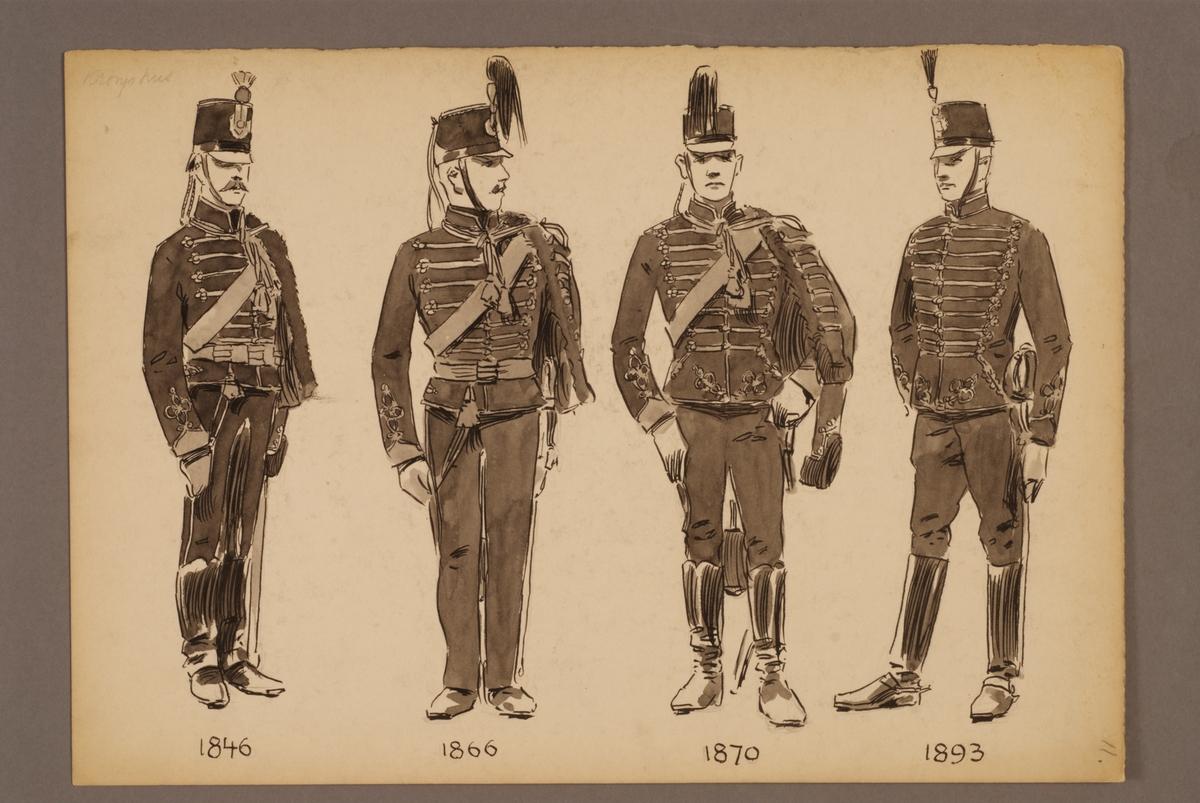 Plansch med uniform för Kronprinsens husarregemente för åren 1846-1893, ritad av Einar von Strokirch.