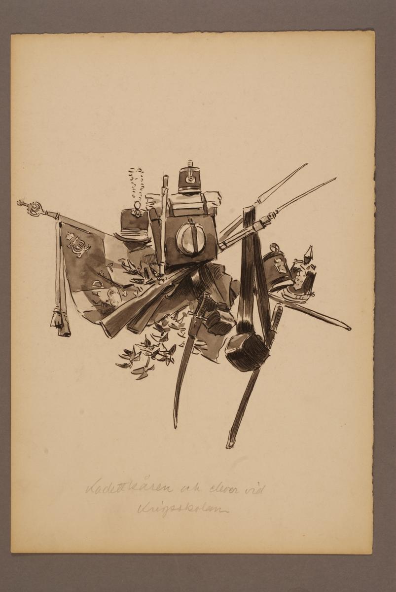 Plansch med utrustning för Kadettkåren och elever vid Krigsskolan, ritad av Einar von Strokirch.