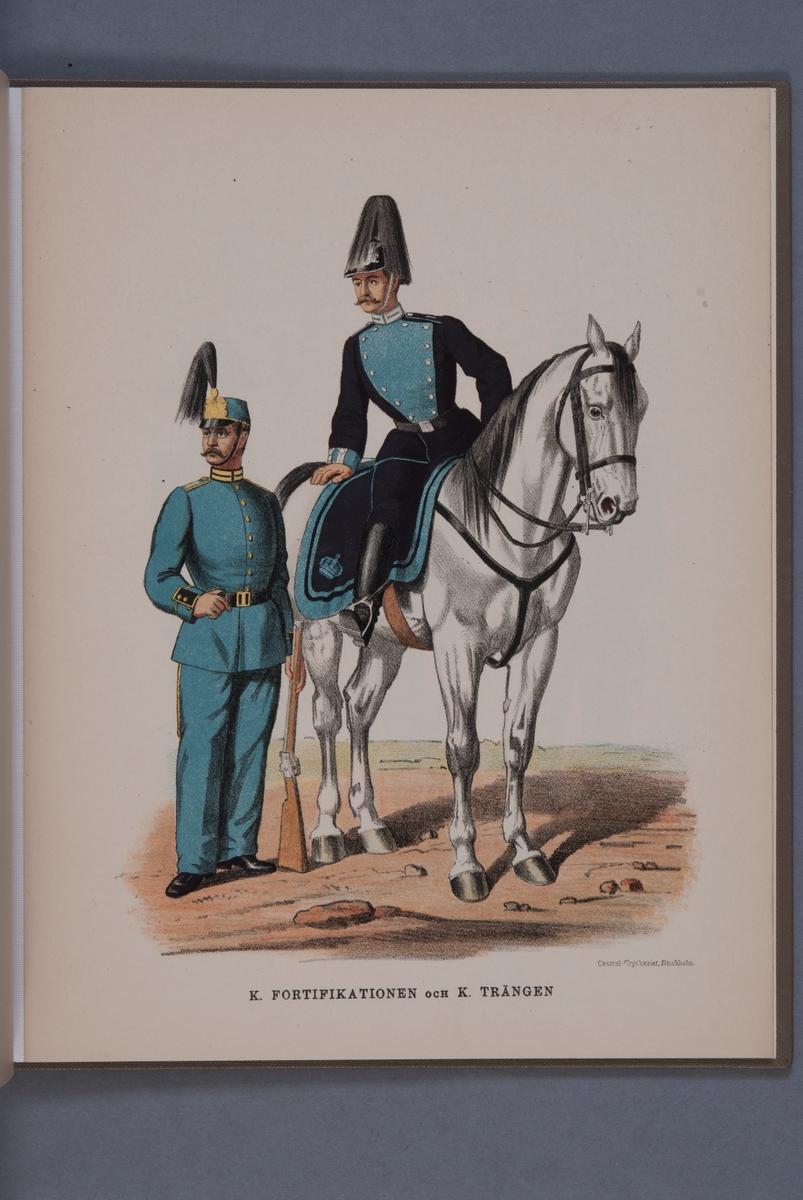 Plansch i färgtryck med uniform för Fortifikationen och Trängen. Ingår i boken Svenska arméns och flottans uniformer, utgiven av P.B Eklund 1891.