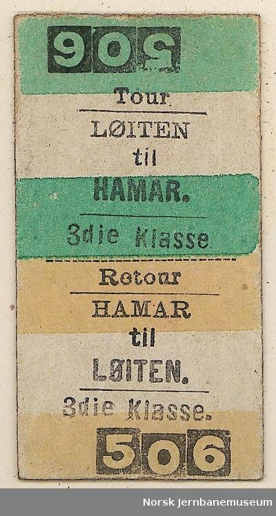 Tur-returbillett Løiten-Hamar, 3die klasse, ubrukt. Stasjonsnavnet Løiten ble tatt i bruk 15.12.1878 og erstattet Berg.