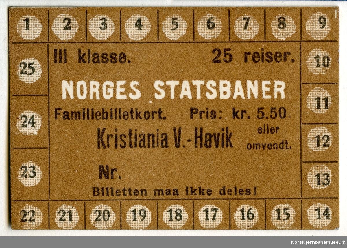 Familiebillettkort Kristiania V-Høvik, 3. klasse