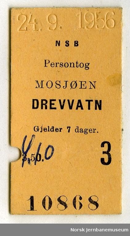 Billett persontog Mosjøen-Drevvatn
