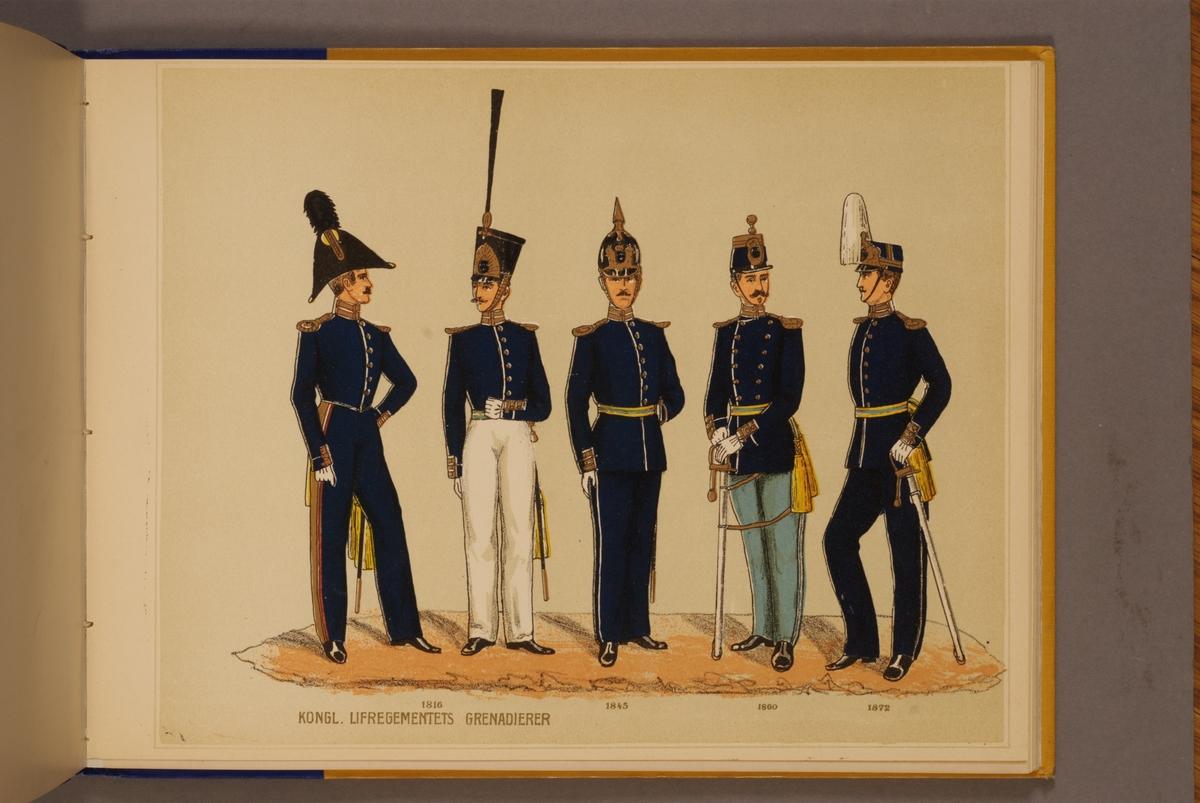 Plansch i färgtryck med uniform för Livregementets grenadjärer för åren 1816-1872. Ingår i planschsamlingen Svenska arméns och flottans officersmunderingar utgiven av P.B Eklund.