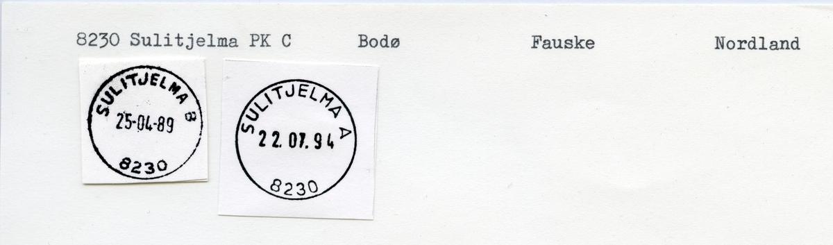 Stempelkatalog  8230 Sulitjelma, Fauske kommune, Nordland