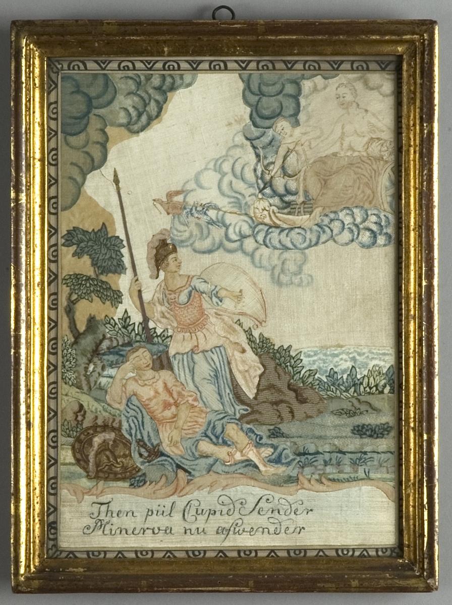 Motivet föreställer Venus i sin char dragen av fåglar och en ängel som skjuter en pil, avsedd för Cupido som ligger på marken.  En stående Minerva hindrar med sin sköld pilen från att nå sitt mål.