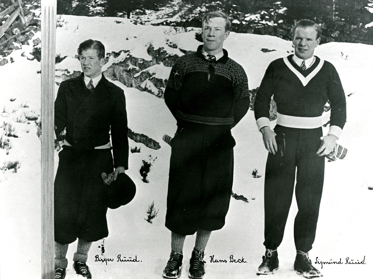 3 skiers from Kongsberg during national championship 1929