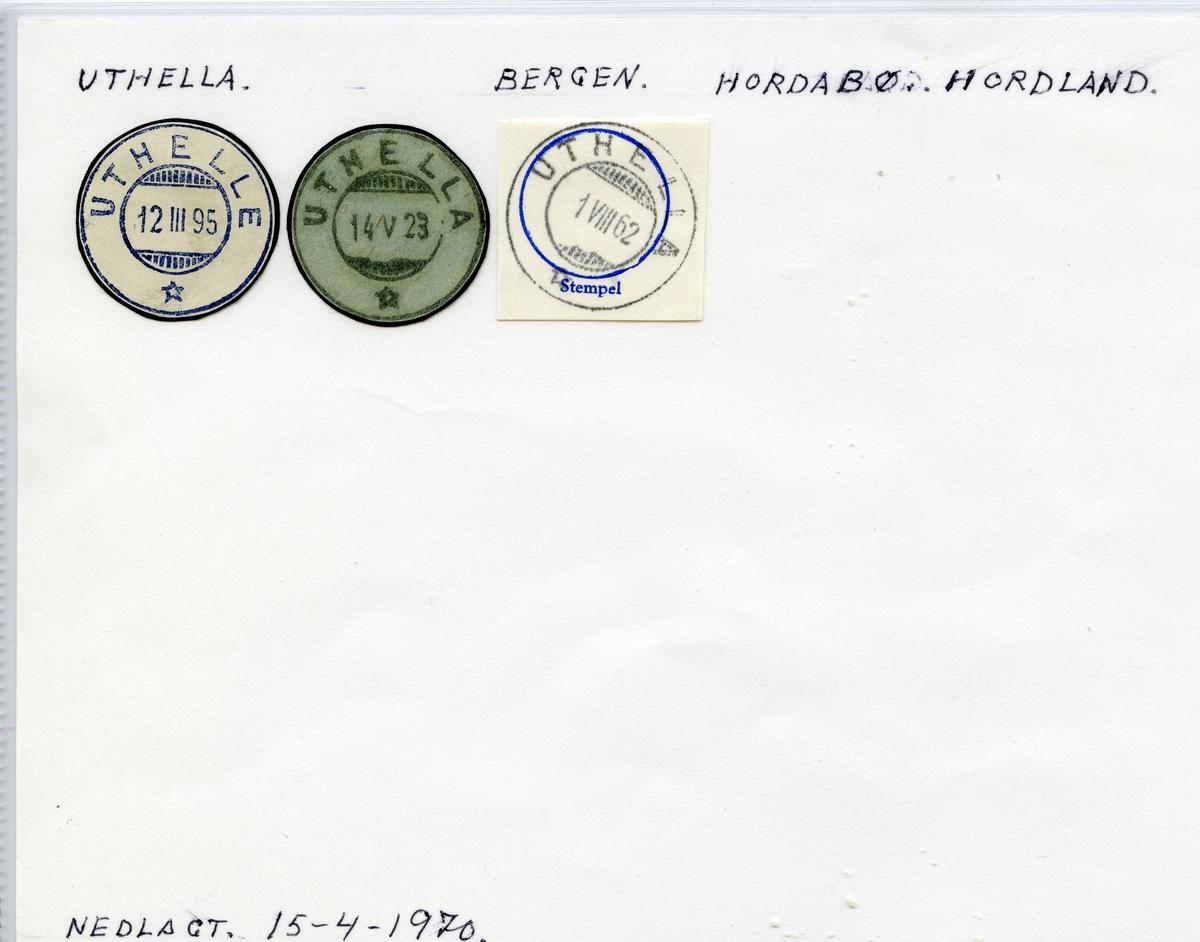 Stempelkatalog Uthella (Uthelle), Bergen, Hordabø, Hordaland