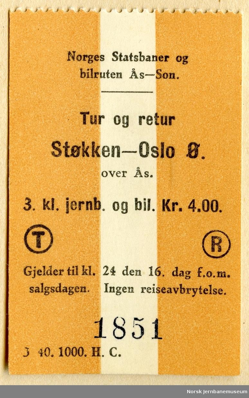 Billett Norges Statsbaner og Bilturen Ås-Son, tur/retur Støkken-Oslo Ø over Ås