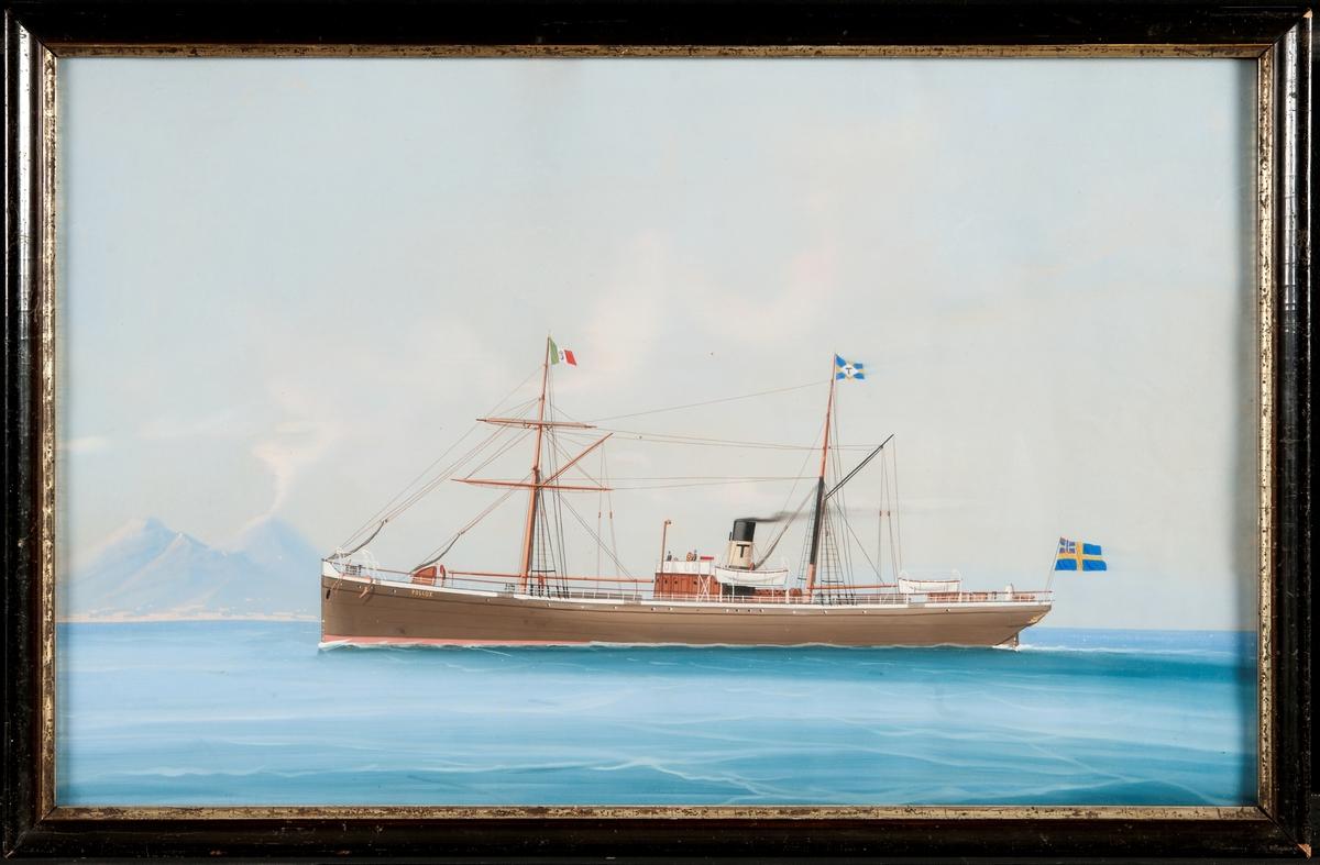"""Ångfartyget """"Pollux"""" med brunmålat skrov, svart skorsten med vitt bälte och svart T. Italienska flaggan på förtoppen och bolagsflagga (Trelleborgs Ång-Fartygs Aktiebolag) på stortoppen. Akter ut svenska flaggan med unionsmärke."""