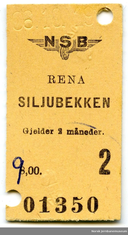 Billett Rena-Siljubekken, 2. klasse