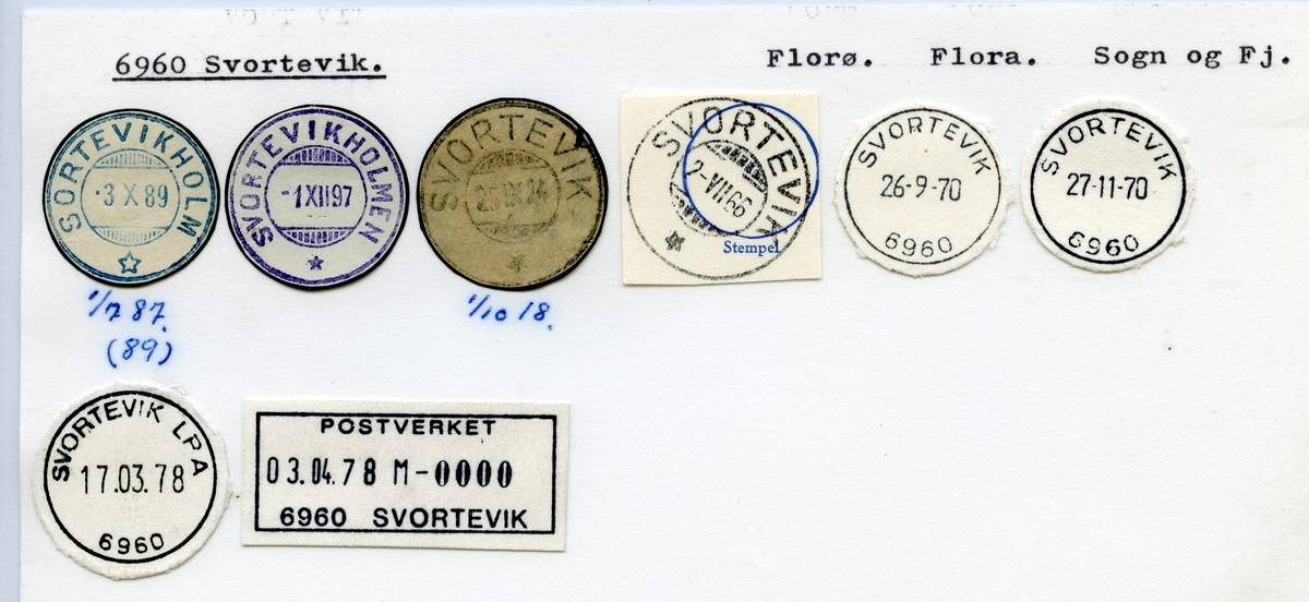 Stempelkatalog  6960 Svortevik, Flora kommune, Sogn og Fjordane (Sortevikholm)