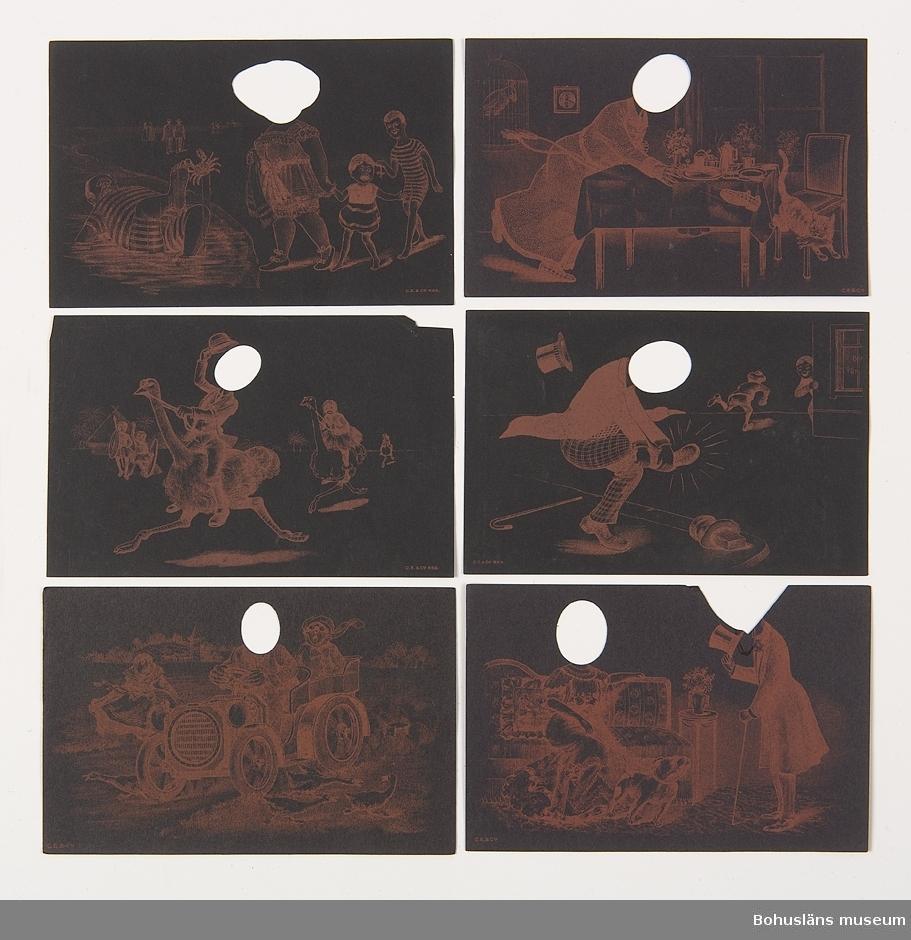 """Förpackning med """"Karikatur Vignetten humoristrische Figuren zum Einkopieren von Köpfen. Serie No. 20. 4 assort. Dessins für postkarten.""""  22 motiv fördelade på sex små ark med urklippta hål för inkopiering av valfria ansikten/huvuden."""