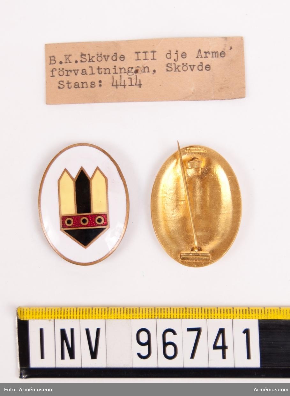 Märken för B K Skövde 3:e arméförvaltningen. Ett utan nål. Stans nr 4414.