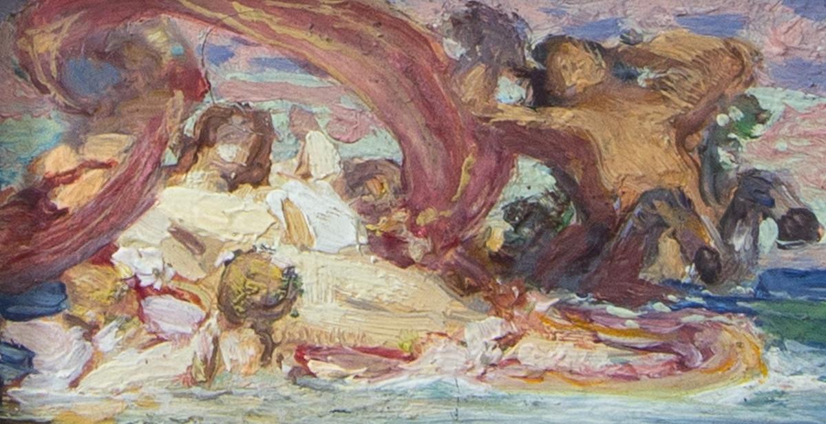Skissartad komposition i tre delar av Venus på havet. Från vänster till höger:Amoriner kring oidentifierat objekt på havet, Venus sittande i en båt omgiven av amoriner och triton samt frustande hästar som drar Venus båt.