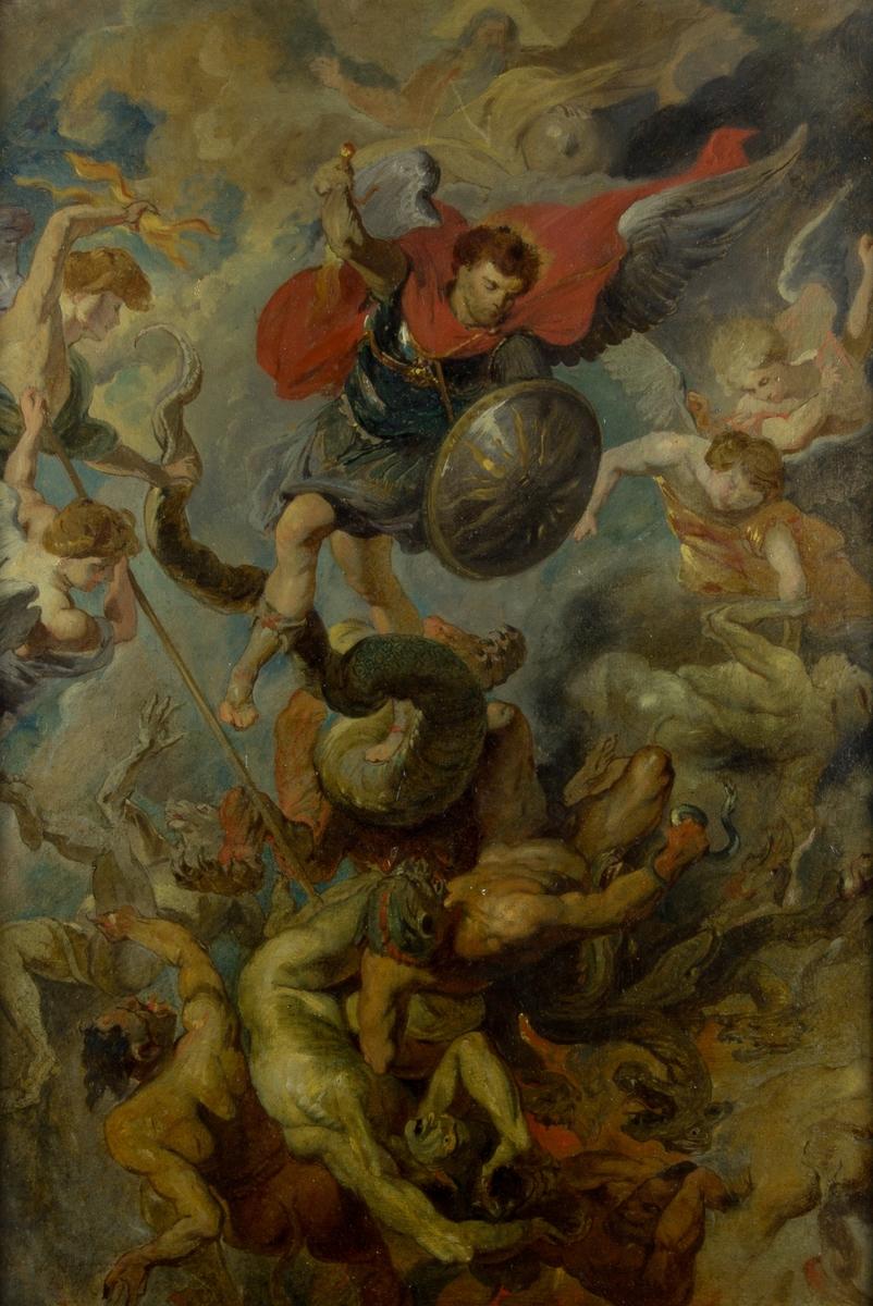 De fallna änglarnas nedstörtande. I målningens mitt en ängel i soldatmundering med svärd och sköld. Under ängeln en slingrande stor drake och liggande nakna män. Flygande änglar på båda sidor om den soldatklädde ängeln. En av dem stöter ett långt spjut i en av de liggande männen. I bakgrunden blå himmel och vita moln och en man med skägg, troligen en avbildning av Gud.