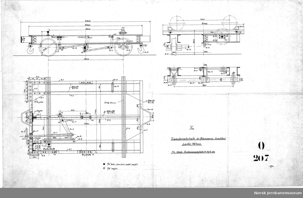 Transformatortralle for Glommens Træsliperi, laster 40 tons, normalspor