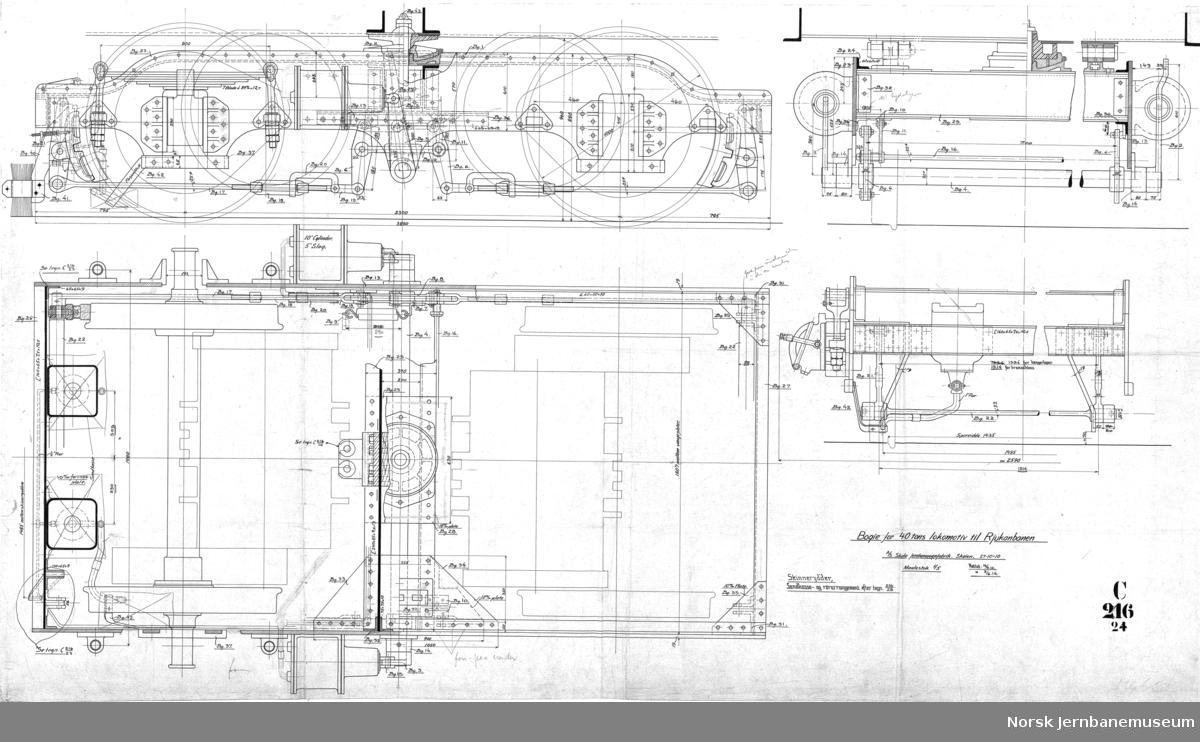 44 tons bogielokomotiv for Rjukanbanen  C216-1A - Hovedtegning C216-07 Grundplan av huset C216-11 Transformatorkammer C216-12 Understilling C216-13 Maskinrom C216-15 Hjulsats C216-18 Førerrom C216-19 Utvendig riss C216-24 Boggie C216-26 Bremseskjema C216-27 Rørledninger for bremse og strømavtaker  Det finnes i alt 28 tegninger i serien. Alle er scannet.  Det finnes også tegninger i serien C01-C10 som viser endringer på lokene 7-8 i forhold til første leveranse.