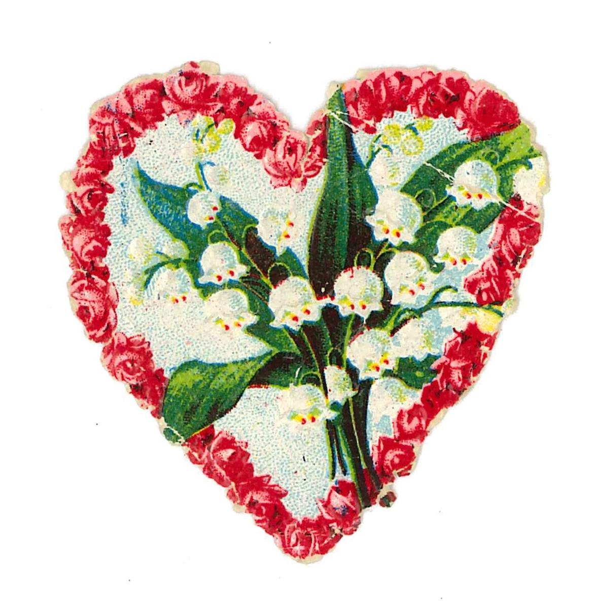 Bokmärke med röda blommor i en hjärtform. I hjärtat finns liljekonvaljer.  Ingår i en samling av 87 bokmärken. Motiven är främst blomstermotiv, religiösa motiv, tomtar samt barn i olika sysselsättningar. Storlekarna varierar mellan 1,3 x 1,6 cm -10,3 x 15,9 cm. Till bokmärkena hör ett kuvert med 47 hemmagjorda lotter samt ett utskuret stycke ur en välskrivningsbok från skolan.  Boken har blå pärm . Lotteriet och boken användes när skolflickorna bytte bokmärken med varandra. Några av bokmärkena ligger i en albylask av metall. Samtliga föremål ligger i en lilla papplåda med löst lock.  Lådans mått är L. 18,5 cm. B. 12 cm. H. 2,5 cm. Samtliga föremål är märkta med VM 21 406.