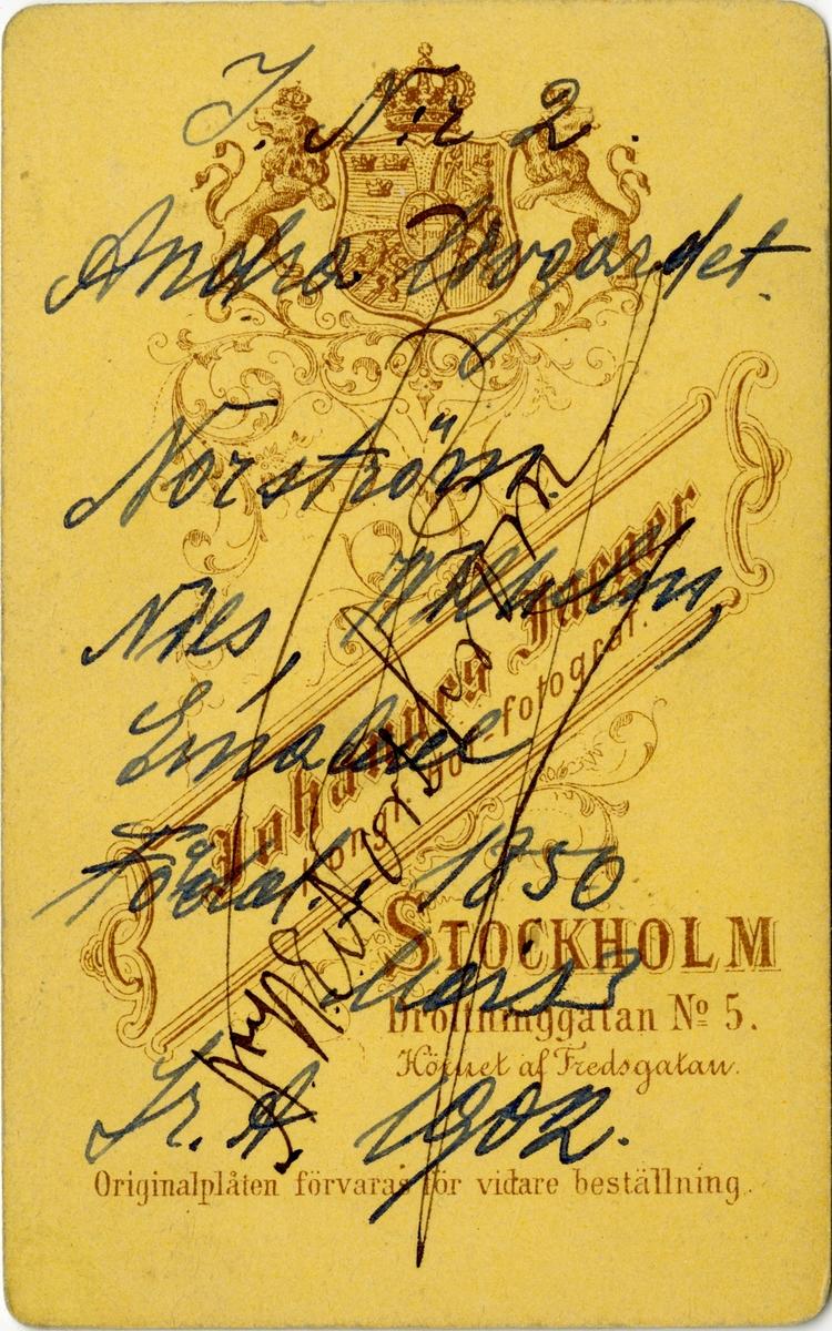 Porträtt av Nils Wilhelm Emanuel Norström, löjtnant vid Andra livgardet I 2. Se även AMA.0008131.