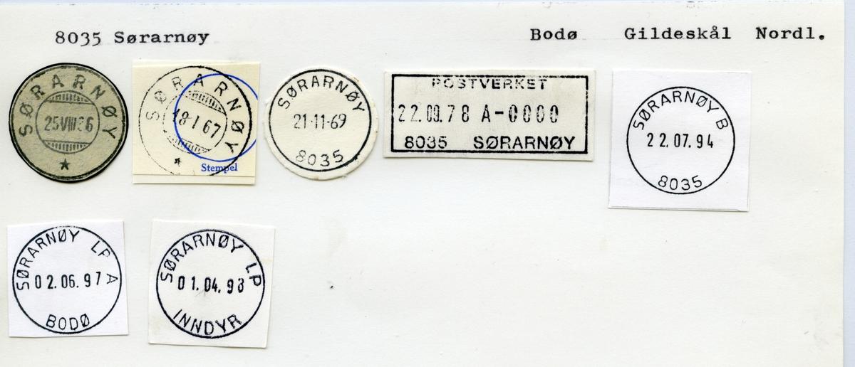 Stempelkatalog  8035 Sørarnøy, Gildeskål kommune, Nordland