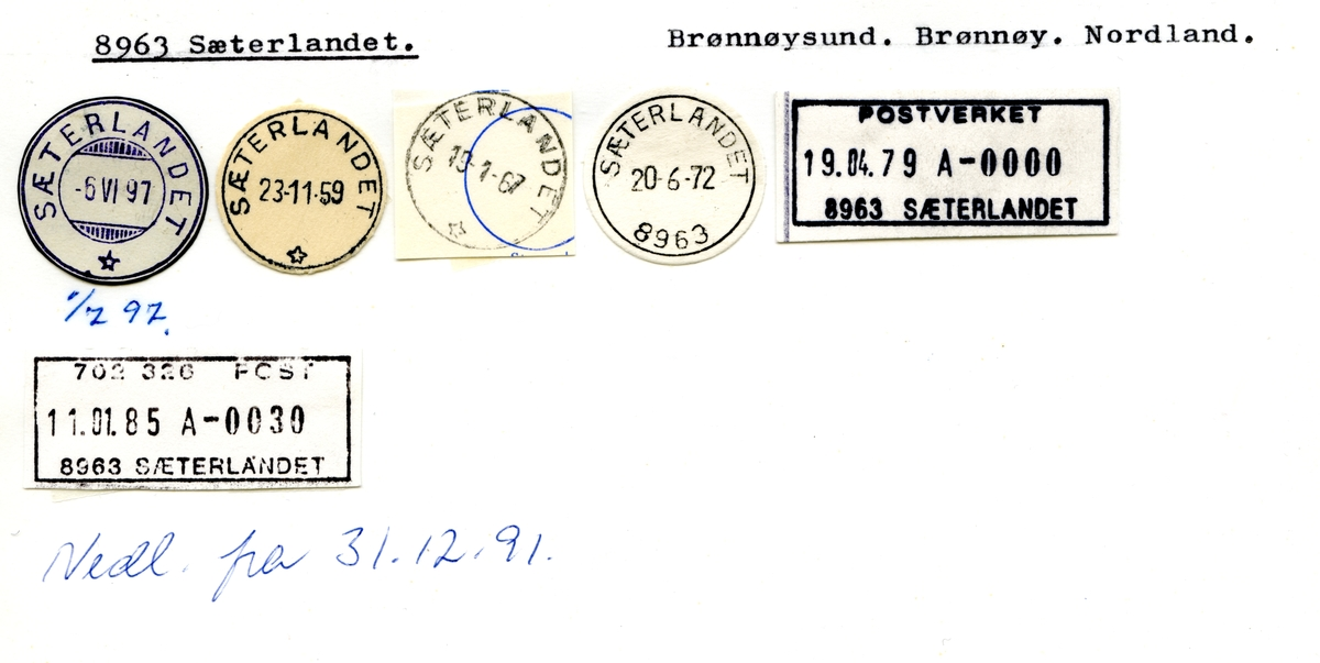 Stempelkatalog  8963 Sæterlandet, Brønnøy kommune, Nordland (Bilde mangler, ikke scannet)