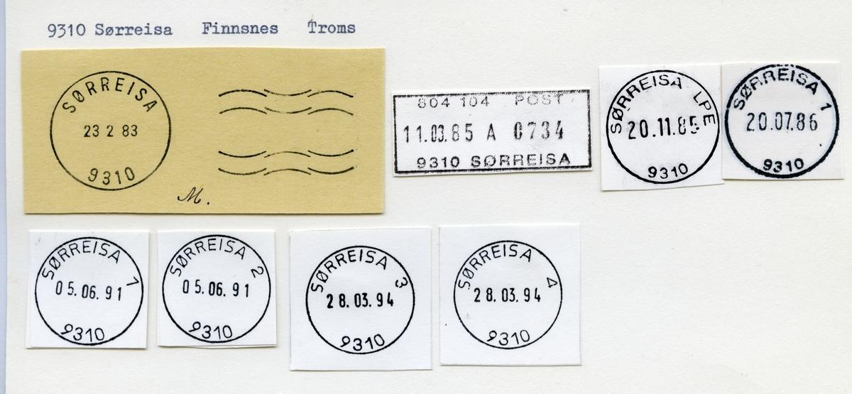 Stempelkatalog  9310 Sørreisa, Sørreisa kommune, Troms