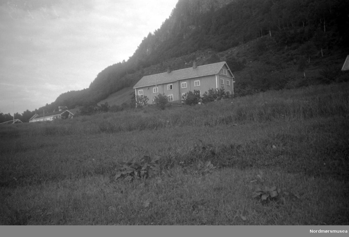 Brøskegården i Stangvik. Nerstua nærmest, med Oppistua i bakgrunnen.  På gården ser vi et våninghus med stående paneling. Bildet er datert oktober 1951. Nordmøre Museum