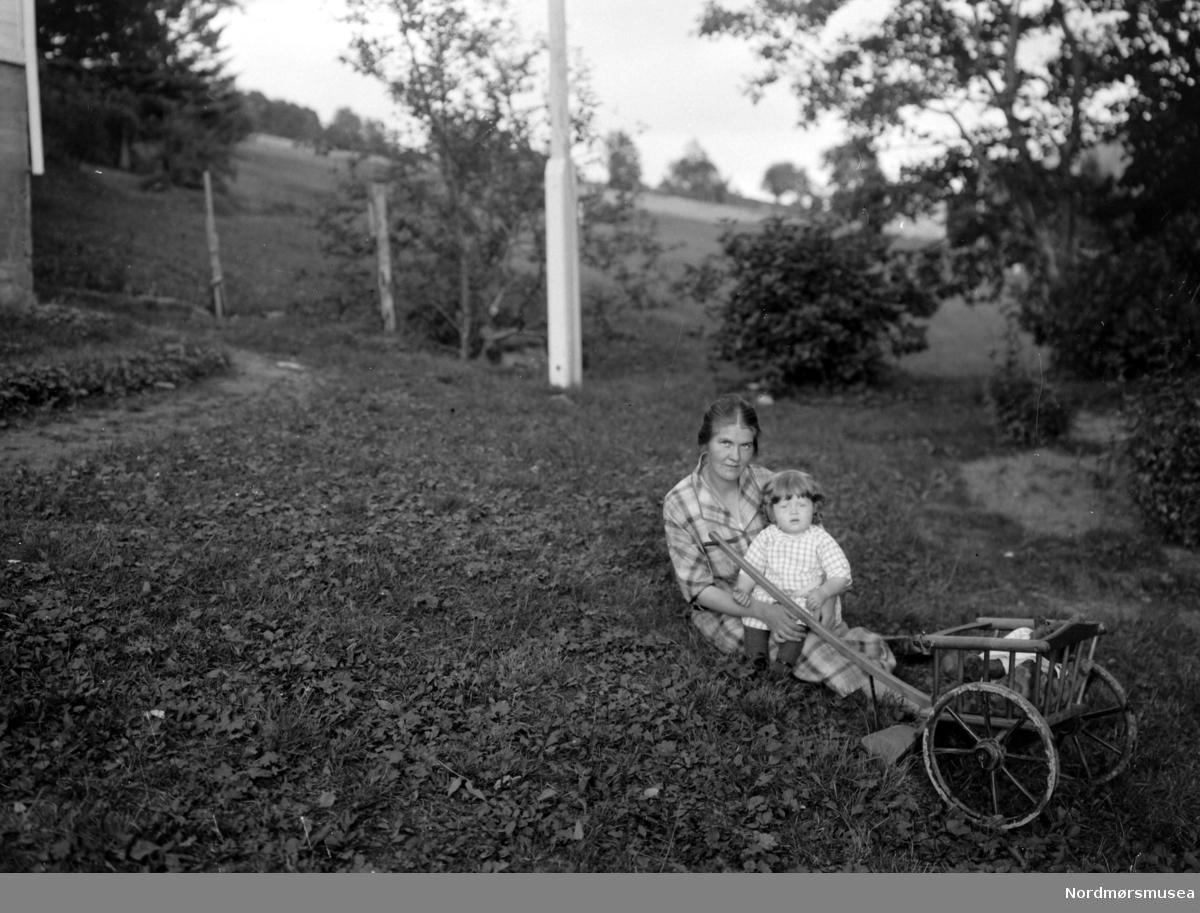 Foto av et lite barn sittende på fanget til sin mor utenfor et bolighus på landet, med en trekkvogn like ved. Trolig i familie eller av slekt innen Sverdrupfamilien, eventuelt blandt deres bekjentskaper.  Stedet er Solbakken, Eidsvåg, Nesset kommune i Romsdalen, Møre og Romsdal fylke. Datering er ukjent, men trolig omkring 1910 til 1930. Fotograf er trolig Georg Sverdrup. Se også reg. nr. KMb-1987-005.4142. Fra Nordmøre museums fotosamlinger.