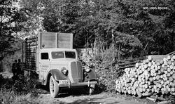 Tansport av cellulosekubb med lastebil fra Borgerud i davære