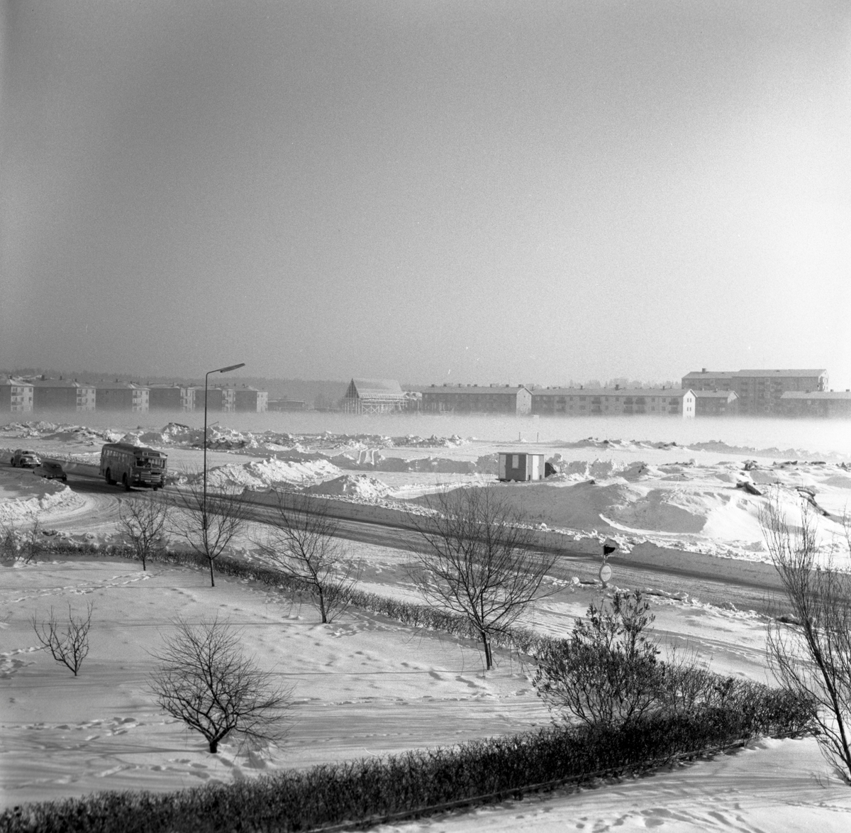 Markarbeten för det blivande Sundstagymnasiets bygge i november 1958.
