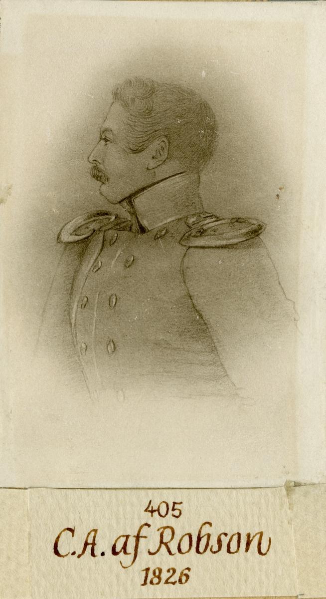 Porträtt av Carl August af Robson, löjtnant vid Andra livgardet I 2.