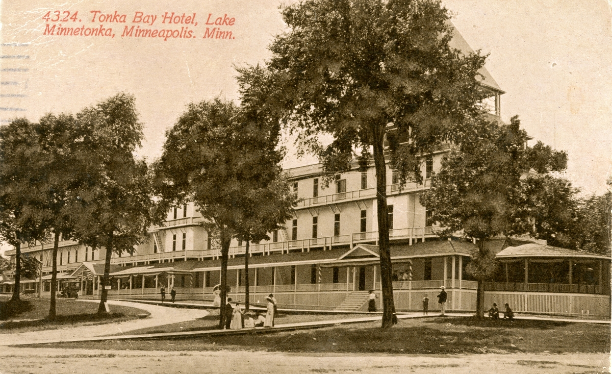 Postkort med motiv fra Tonka Bay Hotel, Lake Minnetonka, Minneapolis, Minnesota
